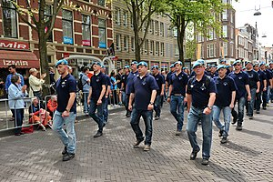 Dutchbat - Dutchbat III veterans marching in The Hague on Veterans' Day, 2014