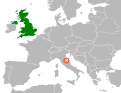 Map indicating locations of United Kingdom and San Marino