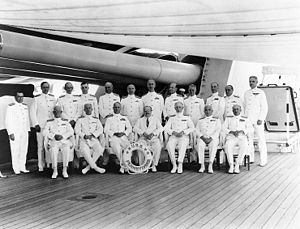 Frederick J. Horne - Horne as Commander, Base Force, 1934 (standing, third from left)