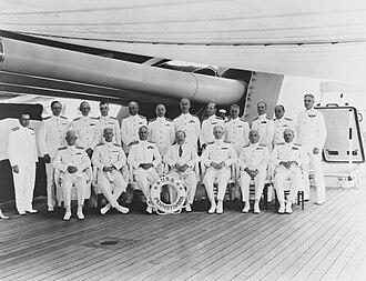 Frederick J. Horne - Horne as Commander, Base Force, 1934 (standing, third from left)