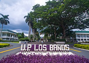 "A sign in the foreground reads ""P. P. Los Baños; several buildings are seen in the background"