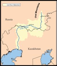Χάρτης της λεκάνης απορροής του Ουράλη.