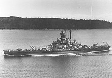 The USS Massachusetts, off the coast of Point Wilson, Washington