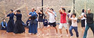 Sydney Uni Sport and Fitness - Kendo Club training at HK Ward Gym