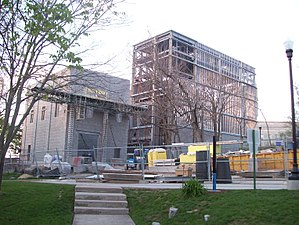 Van Meter Hall - Van Meter Hall undergoing renovation, as seen from behind the building.