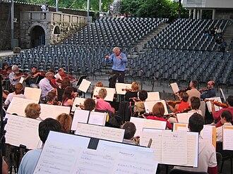 Križanke - RTV Slovenia Symphony orchestra rehearsal in Križanke southern courtyard.