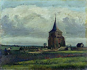 Old Church Tower at Nuenen - Image: Van Gogh Der alte Friedhofsturm in Nuenen mit plügenden Bauern