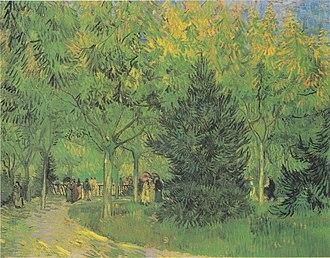 A Lane in the Public Garden at Arles - Image: Van Gogh Weg im Park von Arles mit Spaziergängern