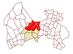 Location on the map of Vantaa, with the district in red and the Aviapolis major region in light brown.
