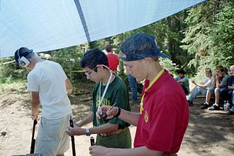 Muzzleloader - Varsity Scouts of the Boy Scouts of America learning about muzzleloading rifles