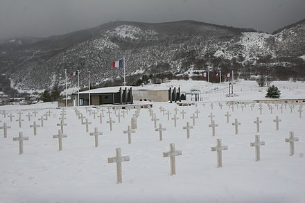 The cemetery and memorial in Vassieux-en-Vercors where, in July 1944, German Wehrmacht forces executed more than 200 persons, including women and children, in reprisal for the Maquis's armed resistance. The town was later awarded the Ordre de la Liberation. Vassieux-en-Vercors Memorial de la Resistance img 5626.jpg