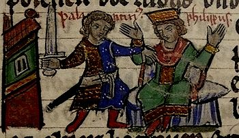 The murder of Philip of Swabia;  Representation from the 13th century