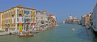 Grand Canal (Venice) - The Grand Canal from Ponte dell'Accademia; in the foreground Palazzo Cavalli-Franchetti, in the distance Santa Maria della Salute