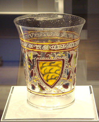 Enamelled glass - Image: Venitian glass circa 1330 with enamel decoration derived from Islamic technique and style