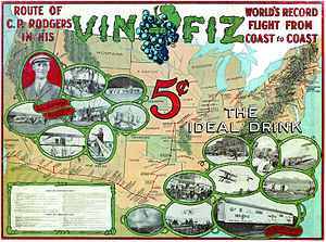 Vin Fiz Flyer - Vin Fiz American transcontinental flight advertisement poster