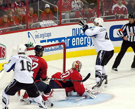 Lecavalier scores the game-winning goal in Game 2 of the 2011 Stanley Cup Eastern Conference semi-finals. The team went on to sweep the Washington Capitals in the series. Vincent Lecavalier OT goal 2011-05-01.JPG
