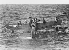 Vought OS2U Kingfisher with rescued airmen off Truk on 1 May 1944 (80-G-227991)