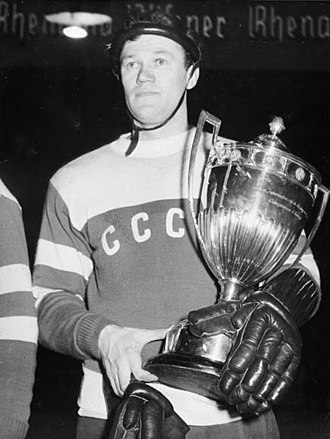 Soviet Union national ice hockey team - Vsevolod Bobrov during the 1956 Winter Olympics, the Soviet Union's first appearance at the Olympics.