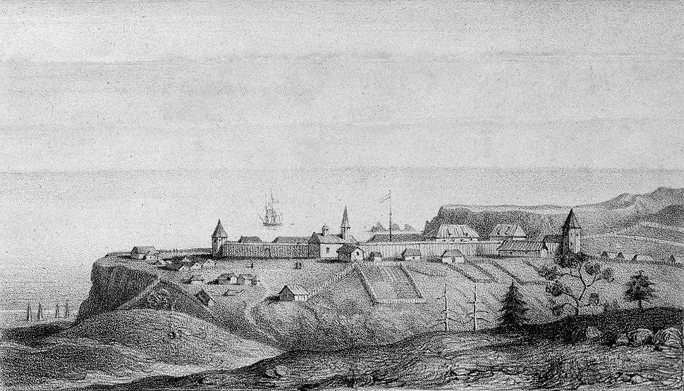 Vue de l'etablissement russe de la Bodega, à la Côte de la Nouvelle Albion, en 1828 (restored)