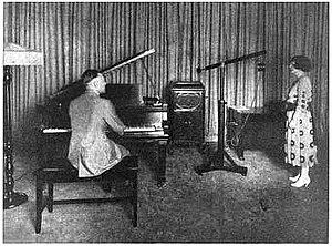 WBZ (AM) - Image: WBZ radio studio 1922