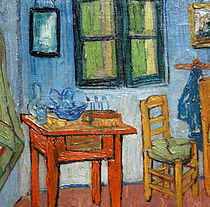 a chair  the window and one of the paintings on the wall  There is a  combination of different colours but his blue is always present   Bedroom  Van Gogh   ThingLink. The Bedroom Van Gogh Painting. Home Design Ideas