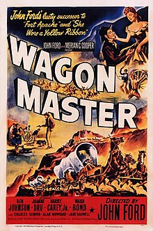 "Color poster. The word ""WAGON"" sweeps across the middle of the poster, with the word ""MASTER"" below it; just above there is text in smaller font that reads ""John Ford and Merian C. Cooper present"". Several scenes from the film are painted around the text, including a woman affectionately looking down at a kneeling man, a shootout with one man standing, holding a pistol, and several men falling or lying on the ground, and two covered wagons being pulled by galloping and rearing horses. At the top left there is text reading ""John Ford's lusty successor to 'Fort Apache' and 'She Wore a Yellow Ribbon'"". The credit block at the bottom reads ""Ben Johnson - Joanne Dru - Harry Carey, Jr. - Ward Bond"", with ""Directed by John Ford"" in larger font at the right. In smaller lettering, nearer the bottom, the poster has another line of credits ""and Charles Kemper - Alan Mowbray - Jane Darwell""."