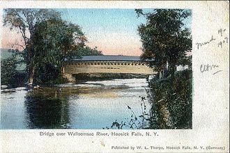 Walloomsac River - Bridge over the Walloomsac River, Hoosick Falls, from a 1907 postcard
