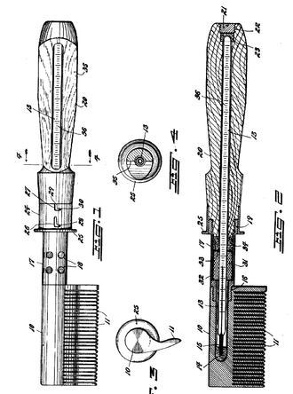 Hot comb - An illustration for a hot comb patent from 1920