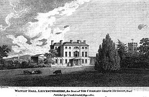 Palmer baronets - Wanlip Hall close to Leicester from European Magazine 1809 – demolished before 1939 – territorial designation of one current instance of the Palmer baronetcy