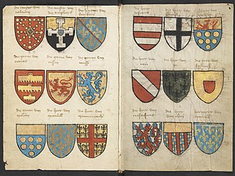 Roll of arms - Left folium 001v and right folium 002r from the Beyeren Armorial, 1402–1405