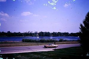 Wascana Centre - Wascana Lake from the Legislative Building in the 1970s