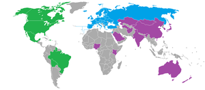World Curling Federation - Members of the World Curling Federation and its regional divisions. Green represents the Americas zone, Blue represents the Europe zone, and Purple represents the Pacific-Asia zone.