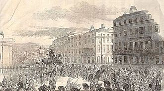 Equestrian statue of the Duke of Wellington, Aldershot - 'The Grand Procession of the Wellington Statue, Turning Down Park Lane' The Illustrated London News 3 October 1846