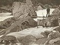 Wenatchi man fishing at trap, Tumwater canyon, Wenatchee River, Washington 1907.jpg