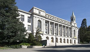 "Campus of the University of California, Berkeley - Wheeler Hall, built to represent John Galen Howard's ""City of Learning"" design, currently houses the campus' largest lecture hall"