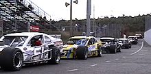NASCAR modifieds getting ready for a race at Stafford Springs, CT.