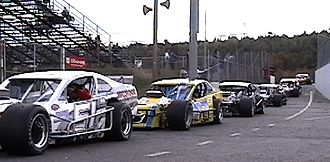 Modified stock car racing - NASCAR modifieds getting ready for a race at Stafford Springs, CT.