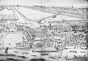 Privy Garden of the Palace of Whitehall - Depiction of the Palace of Whitehall by Leonard Knijff, with the Privy Garden visible on the left, c.1695