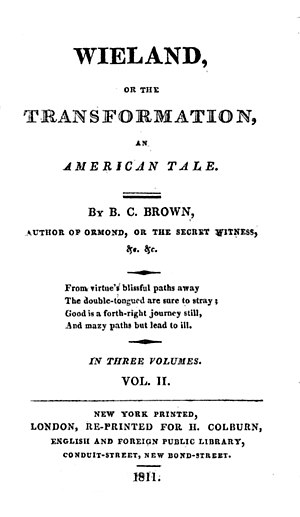 Charles Brockden Brown - 1811 reprint edition of Wieland; or, the Transformation