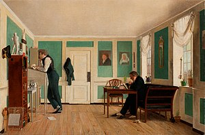 Hirschsprung Collection - Wilhelm Bendz's Interior from Amaliegade with the Artist's Brothers from  c. 1829 was acquired by Hirschsprung in 1901 but only came into the collection in 1915 after the vendor's death