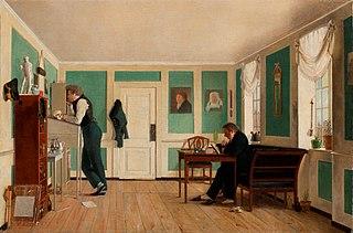 Intérieur de Amaliegade. Capitaine Carl Ludvig Bendz debout et Dr Jacob Christian Bendz assis