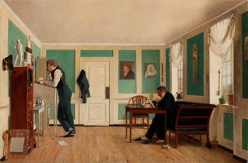 Wilhelm Bendz, Interiør fra Amaliegade, ca. 1829