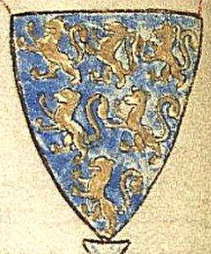 William Longespée, 3rd Earl of Salisbury - Arms of Longespée, as drawn by Matthew Paris (d.1259): Azure, six lions rampant or, 3,2,1. As seen sculpted on the shield of his effigy in Salisbury Cathedral