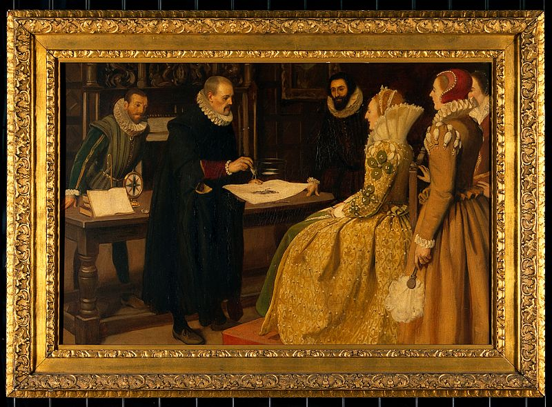 Файл:William Gilbert demonstrating the magnet before Queen Elizab Wellcome V0018144.jpg