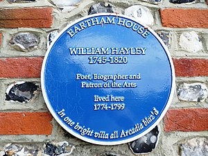 William Hayley - Plaque at site of Hayley's home in Eartham, Sussex