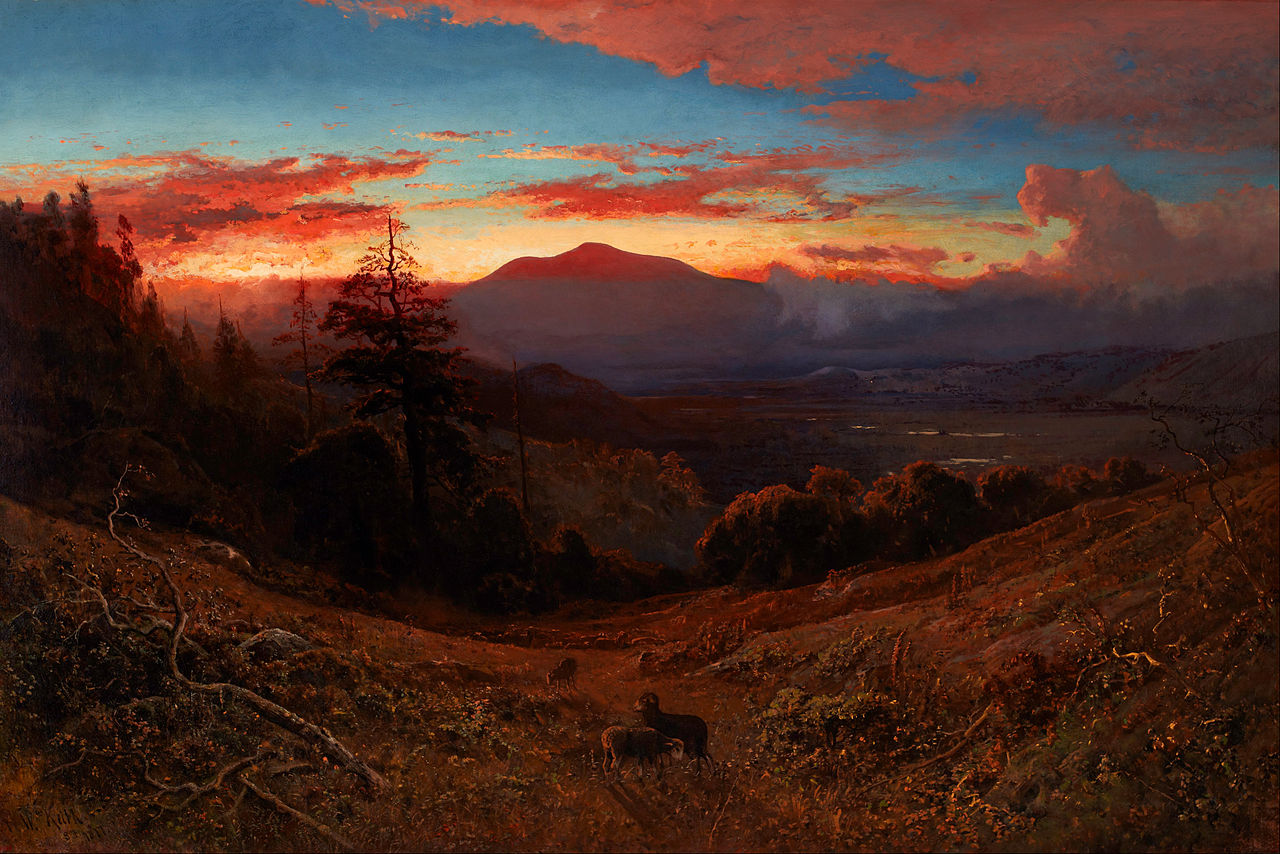 California landscape in art: William Keith, Sunset on Mount Diablo (Marin Sunset), ca. 1877, private collection.