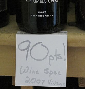 Wine rating - Retailers will often use signage advertising wines that have received a favorable rating from critics.