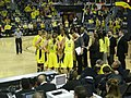Wisconsin vs. Michigan women's basketball 2013 41 (Michigan huddle).jpg