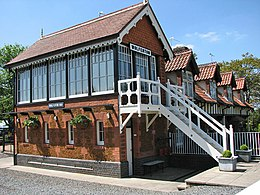 view of red-brick, two-storey signal box