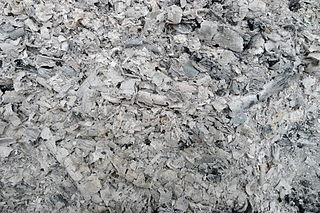 Ash waste product of fire; the end product of incomplete combustion; the solid remains of fires; specifically, it refers to all non-aqueous, non-gaseous residues that remain after something is burned